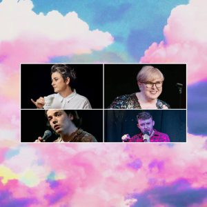 Headshots of Chris Ryan, Laura Campbell, Felix mcCarthy and Jeffrey Charles against a pink and purple cloud background.